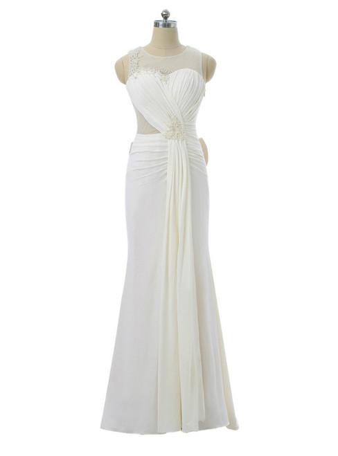 2017 Prom Dresses Mermaid Scoop Chiffon Pearls Bow See Through Women Long Evening Dresses
