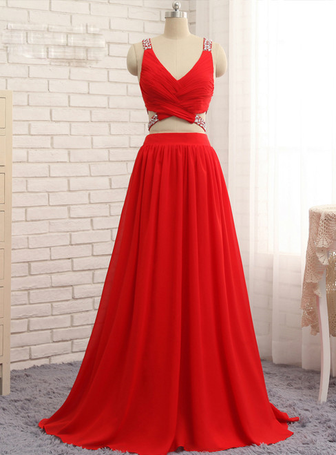 2017 Prom Dresses A-line V-neck Floor Length Chiffon Bead Two Pieces Prom Gown
