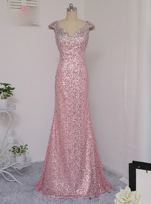 2017 Pink Prom Dresses Mermaid Cap Sleeves Crystal Sequins Long Backless Prom Gown