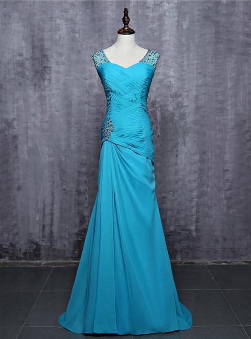 2017 Blue  Prom Dresses Mermaid V-neck Cap Sleeves Chiffon Beaded Crystals Women Long Evening