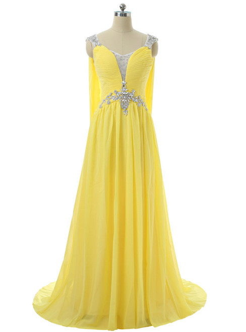 V-neck Cap Sleeves Chiffon Crystals Open Back Long Evening Dresses