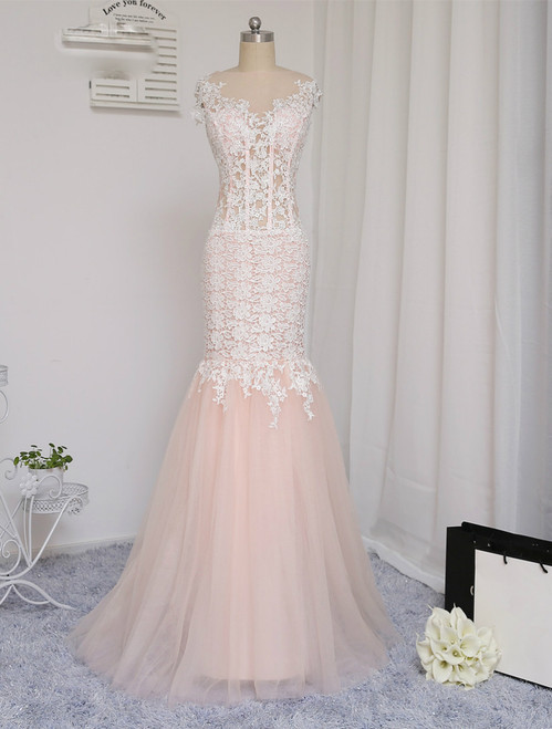 2017 Prom Dresses Mermaid See Through Tulle Appliques Lace Long Prom Gown