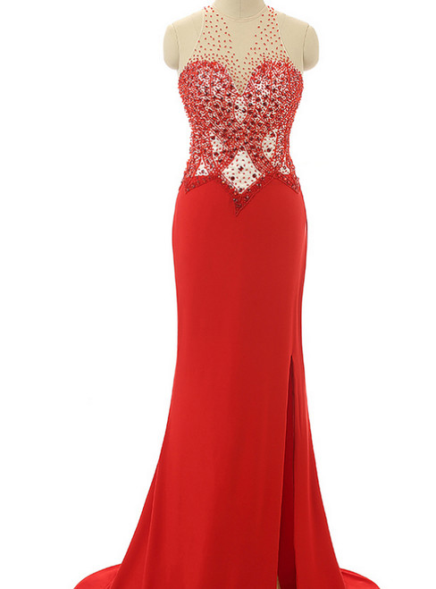Red Prom Dresses Beading Prom Dresses Mermaid Evening Dresses