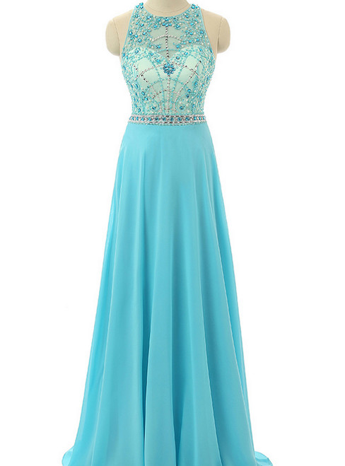 Sky Blue Beaded Prom Dresses Beading Formal Dresses Sheer Evening Gowns