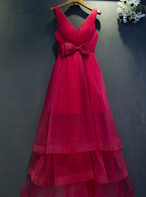 A Line Burgundy Tulle V-neck Backless Pleats Prom Dress With Bow