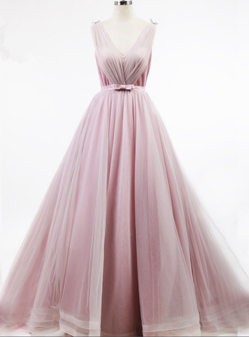 Pleat Skirt Lovely Girl Bow Knot Belt Light Pink Simple Design Prom Dress