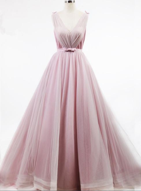 Pleat Skirt Lovely Girl Bow Knot Belt Light Pink Simple Design Prom Dress