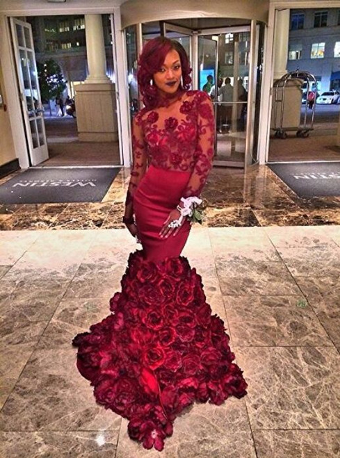 Mermaid Long Sleeves Roses Flowers Open Back Africa Prom Dresses Party Gowns