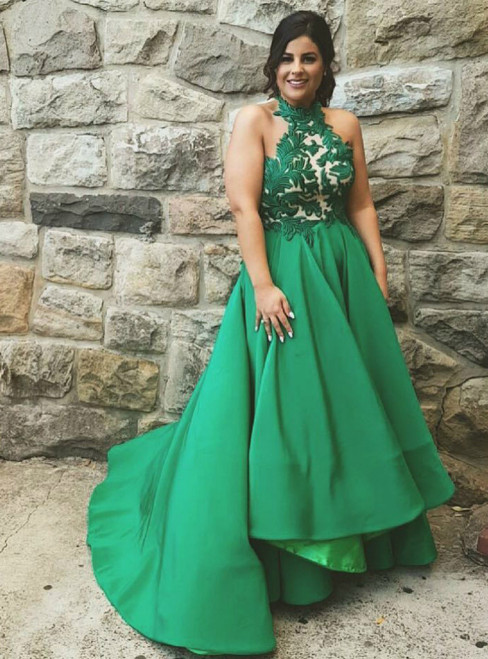 Halter Green Satin High Low Prom Dresses with Lace Appliques