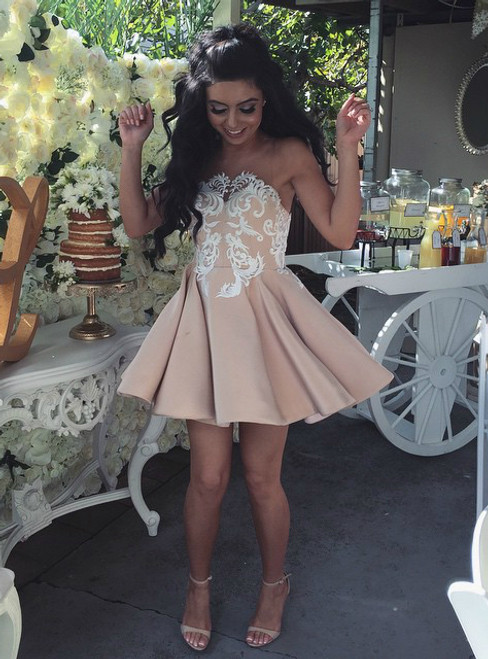 Lace Appliques Short Satin Party Dresses Homecoming Gowns