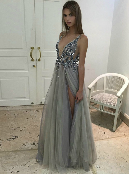 Sexy Side Split Prom Dresses 2017  Deep V Neck Backless