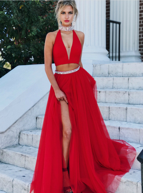 Gorgeous Two Piece Red Long Prom Dress With Slit