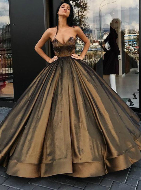 Cheap Sweetheart Ball Gown Beaded Princess Long Prom Dresses