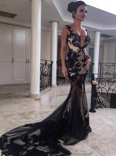 Sexy Black Sheer Tulle Mermaid Prom Dresses with Lace Appliques