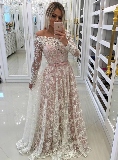 2018 Sheer Lace Off Shoulder Evening Dresses with Long Sleeves