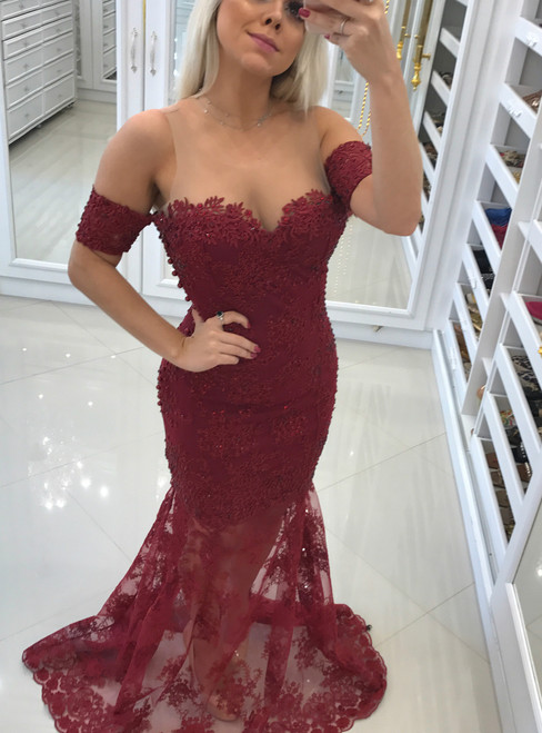 Fashion Burgundy Appliques Lace Mermaid Evening Dresses with Short Sleeves