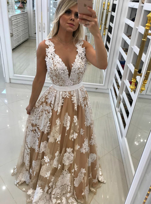 Adorable Sheer Back Deep V neck Evening Prom Dresses with Pearls Appliques