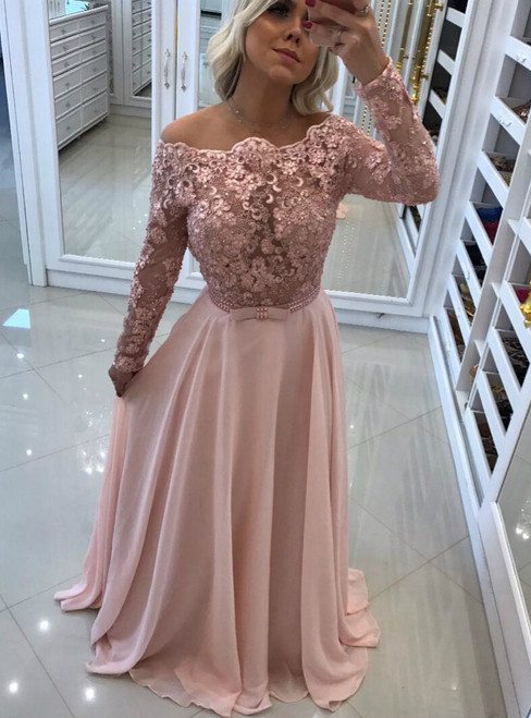 Charming Sheer Corset Off Shoulder Chiffon Prom Dresses with Long Lace Sleeves