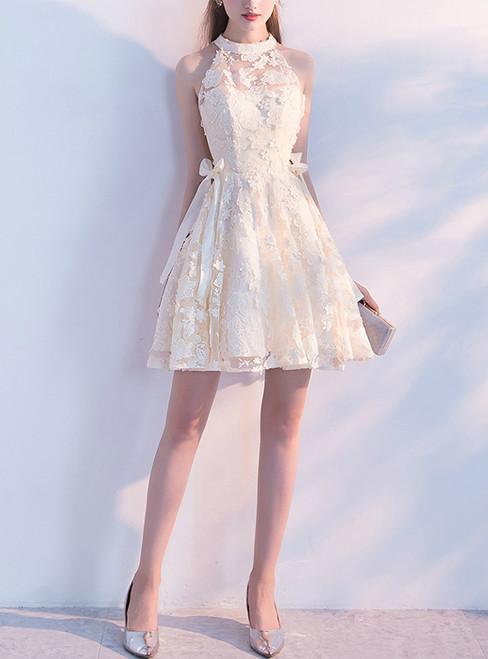 Sleeveless Homecoming Dress Applique Junior School Dress Knee-Length Homecoming Dress