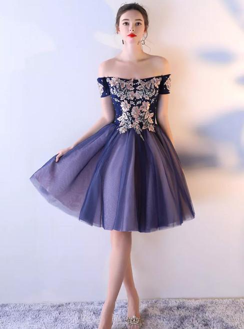 Applique Junior School Dress Knee-Length Homecoming Dress Vintage Homecoming Dress