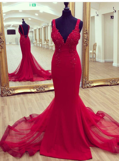 Back Open Red Mermaid Evening Dresses