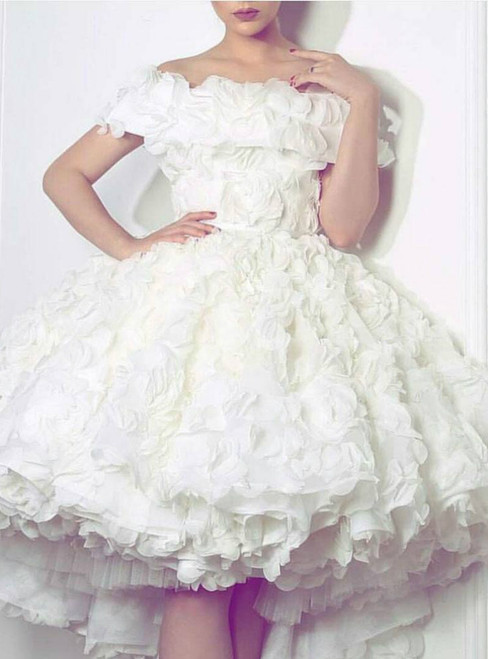 Adorable White Flower Off The Shoulder Short Prom Party Dress