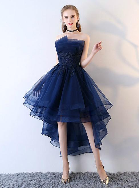 Applique Backless Junior School Dress High-Low Homecoming Dress