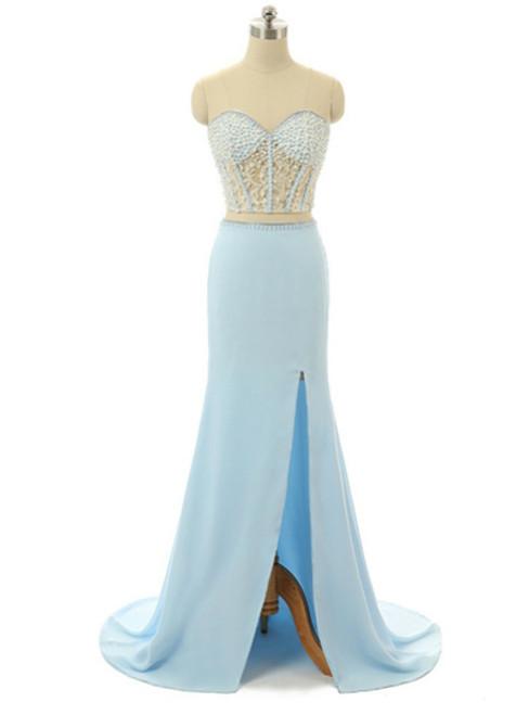 Sweetheart Neck Long Chiffon Prom Dresses Lace Women Dresses