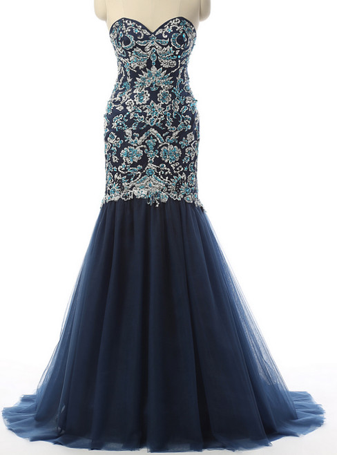 Navy Evening Dresses Mermaid Prom Dresses Sweetheart Prom Dresses