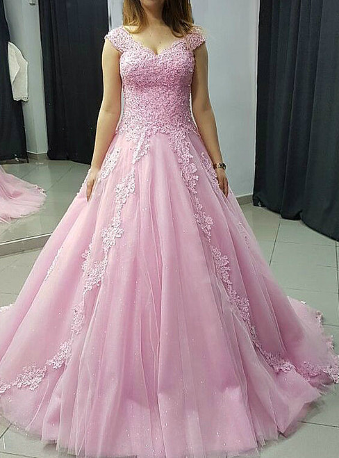 Off the Shoulder Sweep Train Prom Dresses Ball Gown