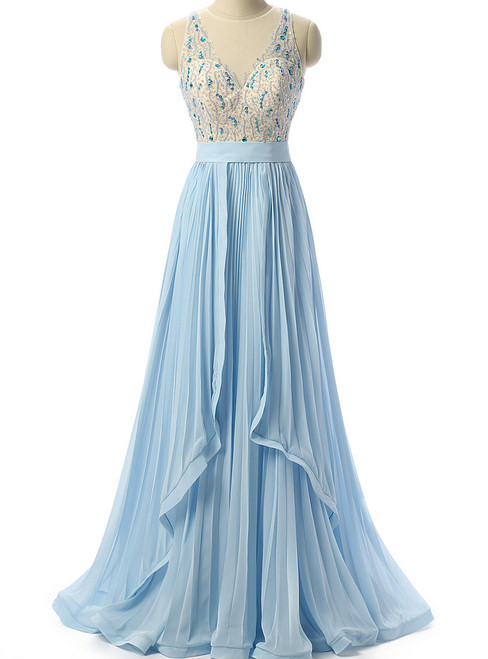 Sky Blue Beaded Prom Dress Formal Women Evening Dresses