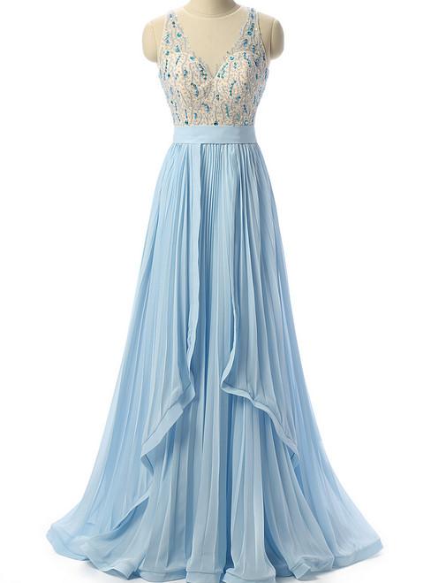 Sky Blue Beaded Prom Dress Formal Women Evening Dresses