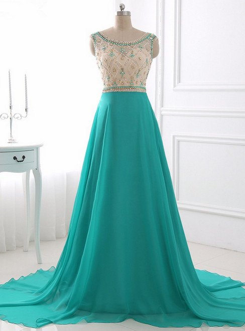 A Line Chiffon Evening Dress Illusion Sparkly Beading Bodice Prom Dress