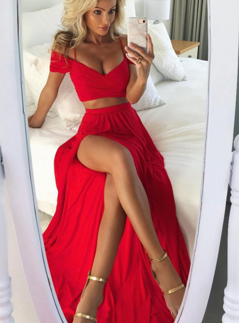 Off the Shoulder Formal Gowns Party Pageant Graduation Dress with High Slit
