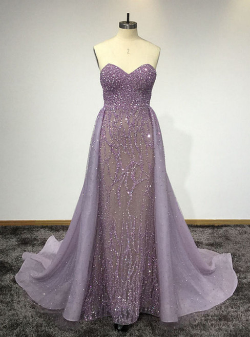 Purple Sweetheart Neck Sleeveless Floor Length Prom Dresses