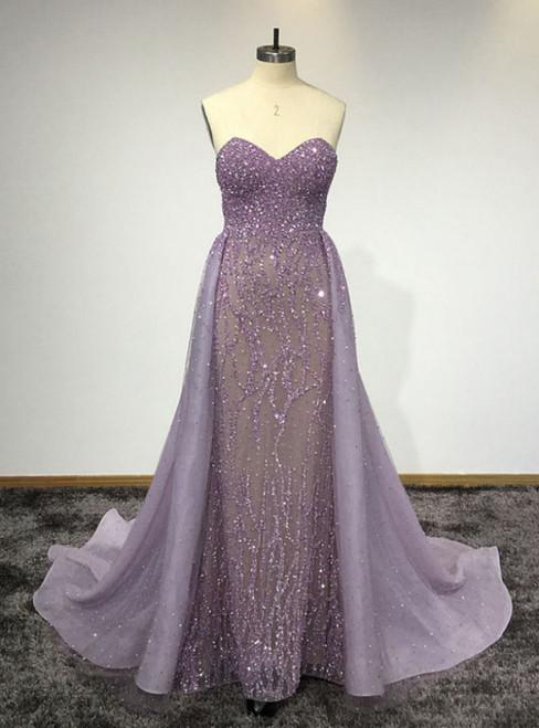 Purple Sweetheart Neck Sleeveless Floor Length Prom Dresses