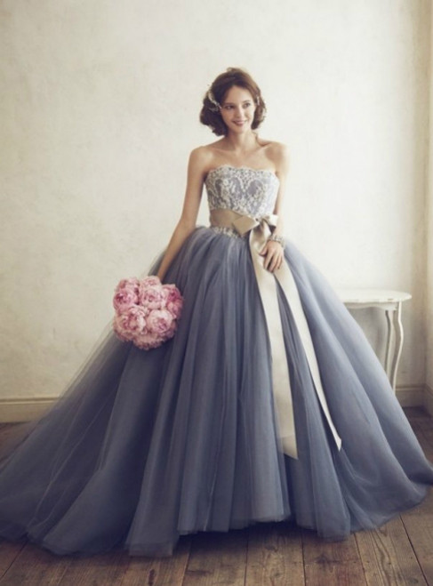 Gray Ball Gown Strapless Tulle With Sash Wedding Dress