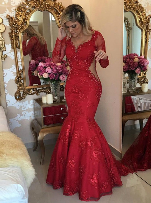 Sweep Train Long Sleeve Prom Dresses Red Lace Evening Dress Formal Gowns