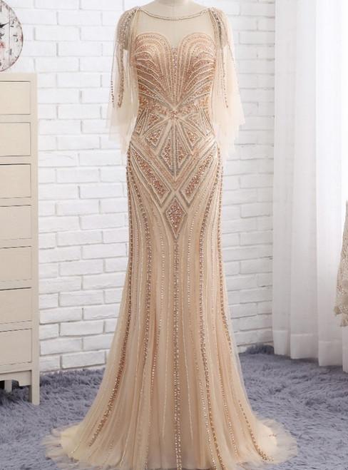 Wonderful One Shoulder Single Long Sleeves Floor Length Side Slit Mermaid Beaded Evening Dress