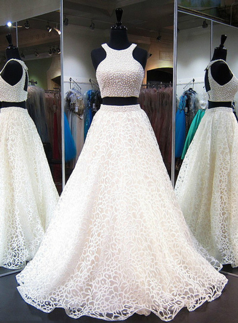 Tulle with Pearl Beading Prom Dresses Two Pieces Prom Dresses