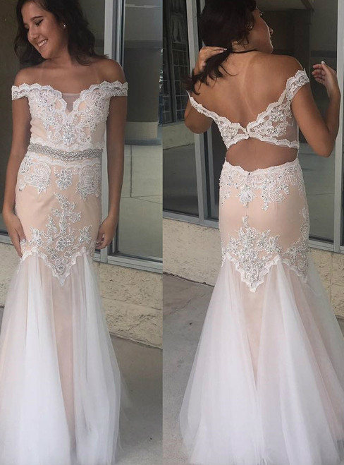 Off-the-shoulder Appliques Sheath Sleeveless Sexy Backless Dresses