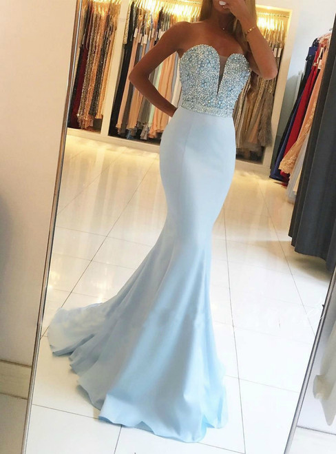 Sweetheart Neck Beaded Mermaid Light Blue Prom Dresses