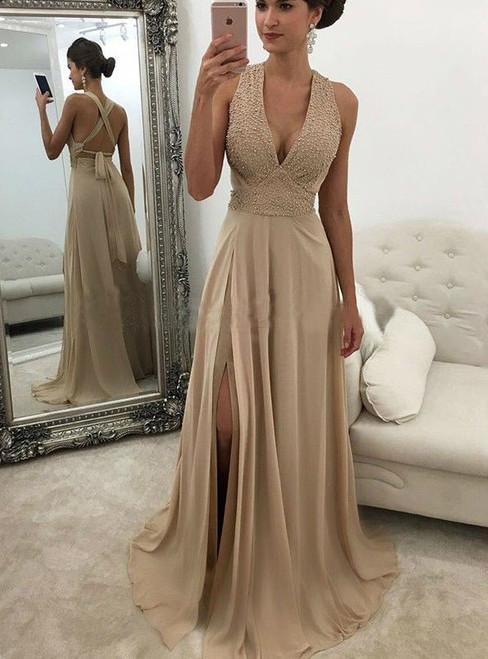 V Neck Champagne Prom Dresses Slit Prom Dress