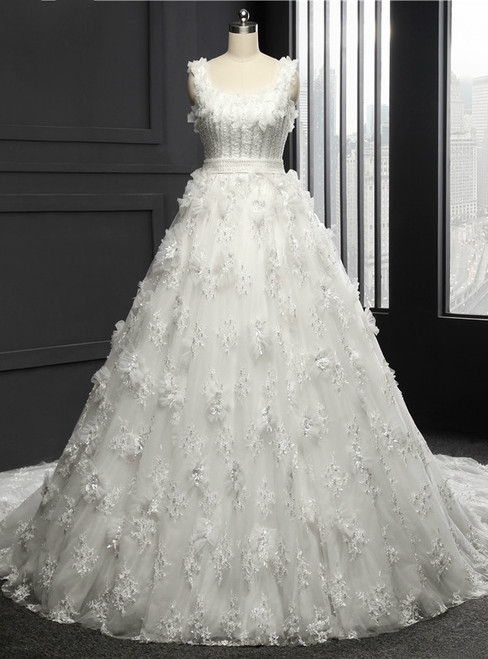 Wedding Dress Chapel Train Tulle With Lace Appliques Ball Gown