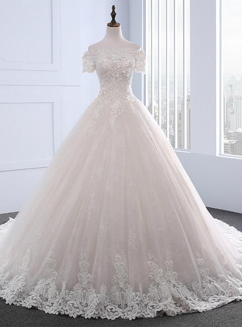 Adorable Vintage Wedding Dresses Short Sleeve With Beading Boat Neck Wedding Dress