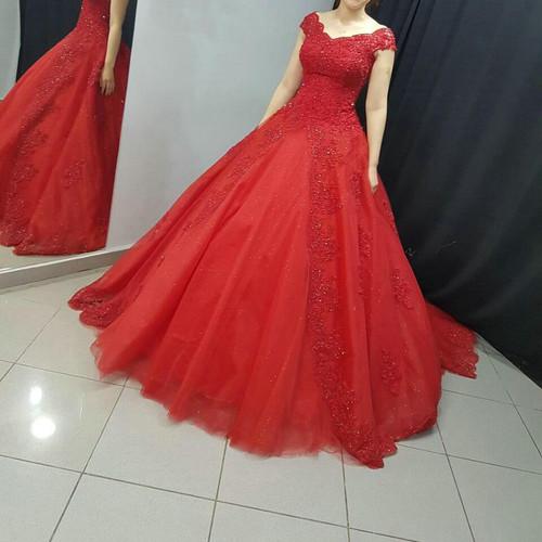 Court Train Off the Shoulder Red Bridal Dresses