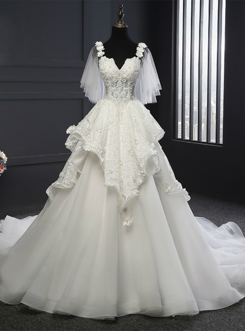 A-Line White Tulle Short Sleeve Sweetheart Appliques Wedding Dresses