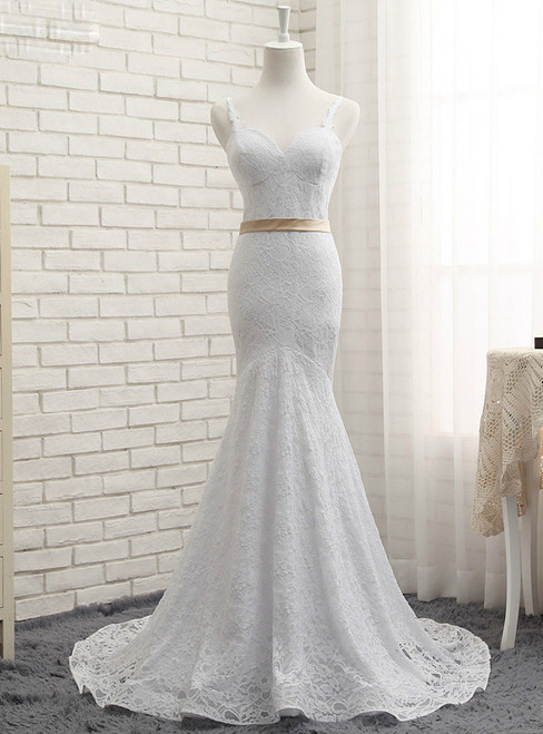 Brilliant 2017 Vintage White Mermaid Lace With Ribbons Wedding Dresses