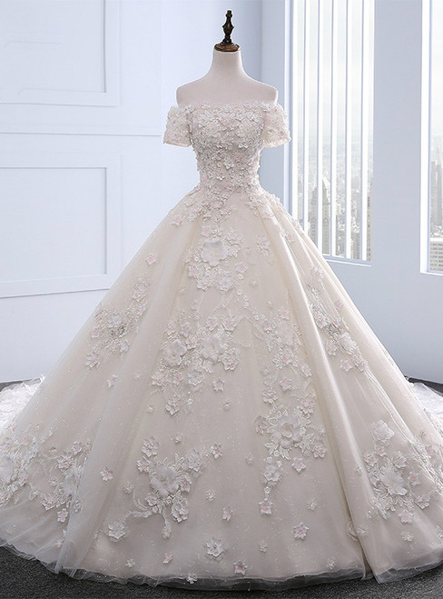 Stunning 2017 Unique Boat Neck Ball Gown Wedding Dresses Long Train With Flowers Beading