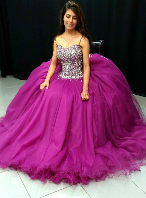 Spaghetti Straps Ball Gown Prom Dresses Featured with Crystal
